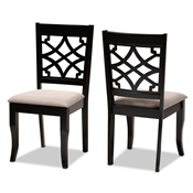 Baxton Studio Mael Modern and Contemporary Sand Fabric Upholstered and Espresso Brown Finished Wood 2-Piece Dining Chair Set Baxton Studio restaurant furniture, hotel furniture, commercial furniture, wholesale dining room furniture, wholesale dining chairs, classic dining chairs