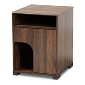 Baxton Studio Nova Modern and Contemporary Walnut Brown Finished 1-Door Cat Litter Box Cover House