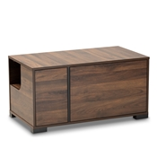 Baxton Studio Connor Modern and Contemporary Walnut Brown Finished 2-Door Cat Litter Box Cover House