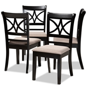 Baxton Studio Clarke Modern and Contemporary Sand Fabric Upholstered and Espresso Brown Finished Wood 4-Piece Dining Chair Set Baxton Studio restaurant furniture, hotel furniture, commercial furniture, wholesale dining room furniture, wholesale dining chairs, classic dining chairs