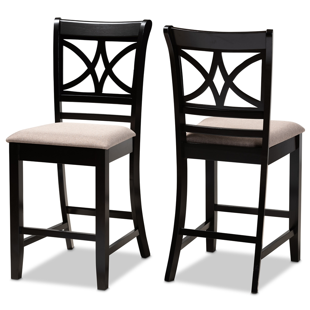 Baxton Studio Chandler Modern and Contemporary Sand Fabric Upholstered and Espresso Brown Finished Wood 2-Piece Counter Height Pub Chair Set