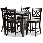 Baxton Studio Chandler Modern and Contemporary Sand Fabric Upholstered and Espresso Brown Finished Wood 5-Piece Counter Height Pub Dining Set