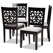 Baxton Studio Jackson Modern and Contemporary Grey Fabric Upholstered and Espresso Brown Finished Wood 4-Piece Dining Chair Set Baxton Studio restaurant furniture, hotel furniture, commercial furniture, wholesale dining room furniture, wholesale dining chairs, classic dining chairs