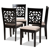 Baxton Studio Jackson Modern and Contemporary Sand Fabric Upholstered and Espresso Brown Finished Wood 4-Piece Dining Chair Set Baxton Studio restaurant furniture, hotel furniture, commercial furniture, wholesale dining room furniture, wholesale dining chairs, classic dining chairs