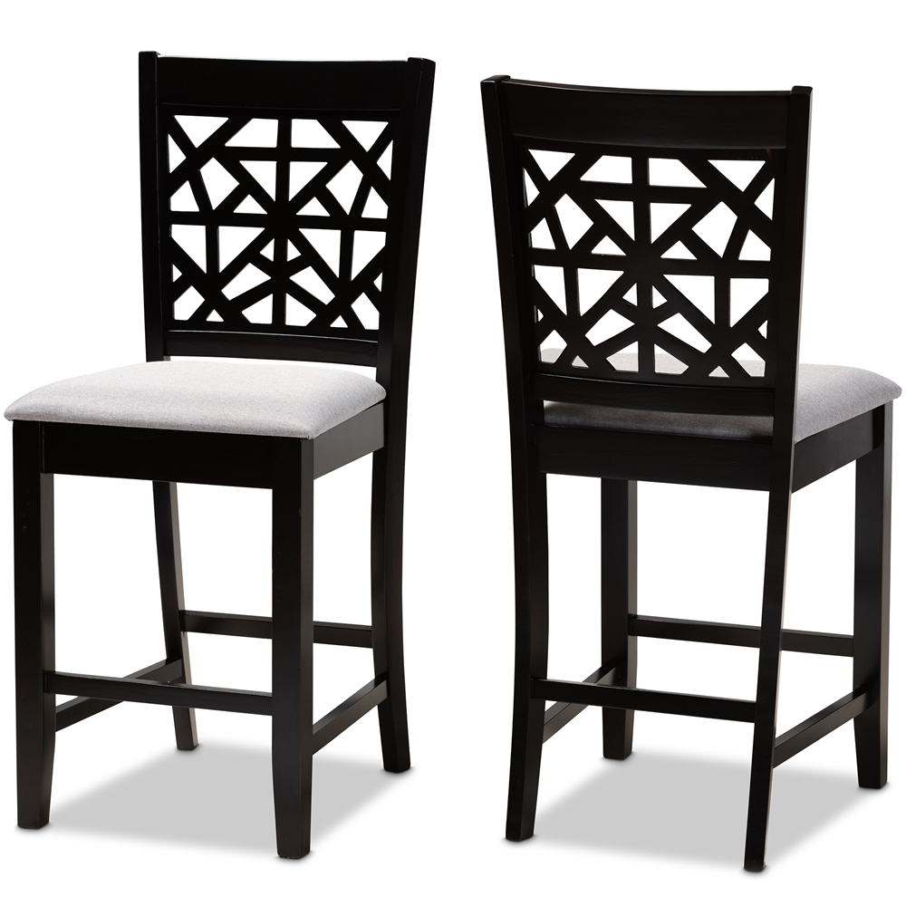 Baxton Studio Devon Modern and Contemporary Grey Fabric Upholstered and Espresso Brown Finished Wood 2-Piece Counter Height Pub Chair Set