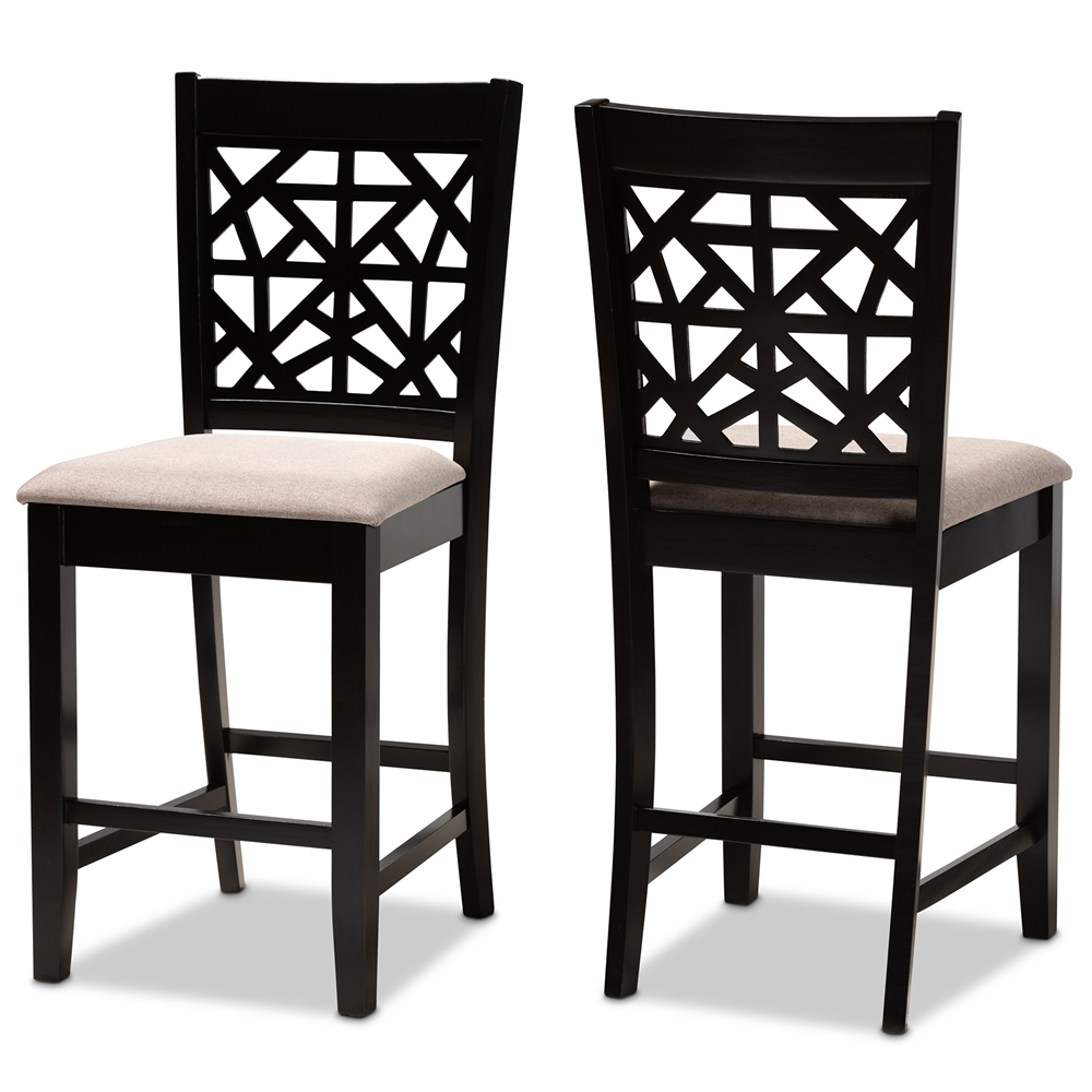 Baxton Studio Devon Modern and Contemporary Sand Fabric Upholstered and Espresso Brown Finished Wood 2-Piece Counter Height Pub Chair Set
